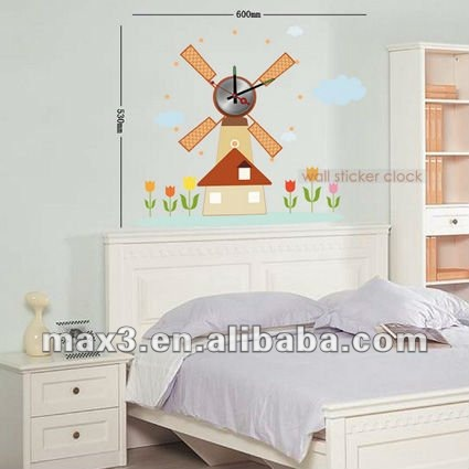 The windmill style wall clock sticker on wall