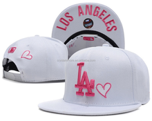los angeles White Color Baseball Fan Caps 3D Embroidery