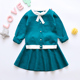 China manufacturer sweater and skirt set sweet style girls clothing with bow