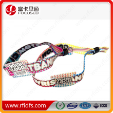 cheap woven bracelets disposable rfid nfc custom fabric wristband