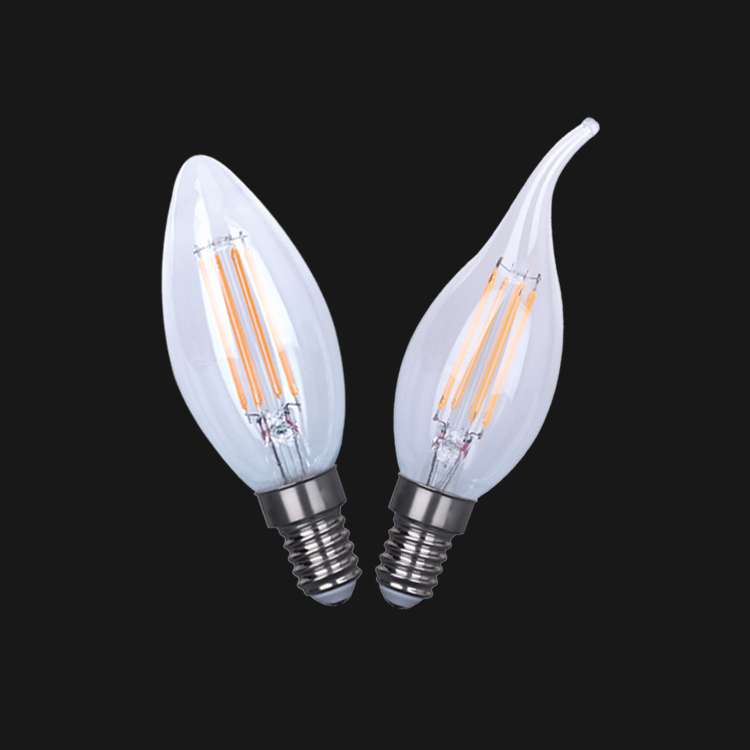 CE ROHS UL hot sell china factory price of led light led filament candle light C35 C35T clear amber glass 4w led bulb