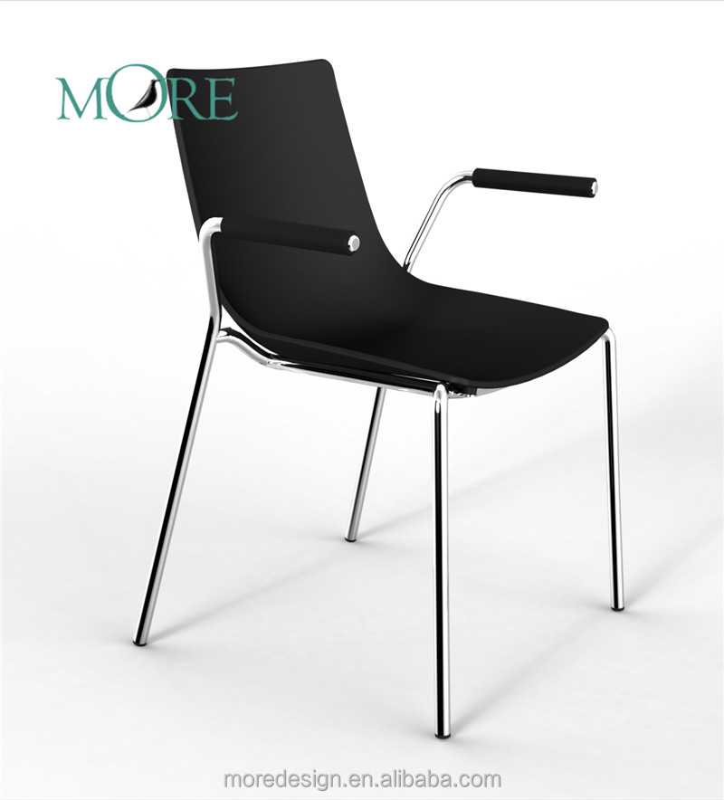 Modern design stacking stainless steel plastic chairs with arms