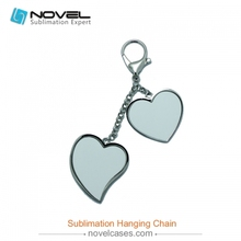 Hot selling best quality fashionable Sublimation two heart shaped hanging chain