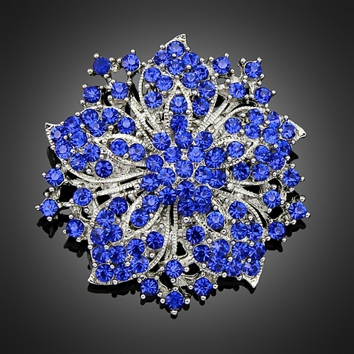 Large Red Blue Rhinestone Brooches Wedding Bouquet Flowers Silver Brooch Pins For Women Cheap Fashion Jewelry Clothes Accessoris