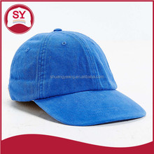 Blue blank 6 panel leather strap adjustable baseball cap wholesale made in China