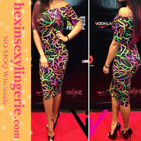 2014 Plus Size Floral Printed Tall Women Fashion Bulk Boutique Party Bodycon Dress