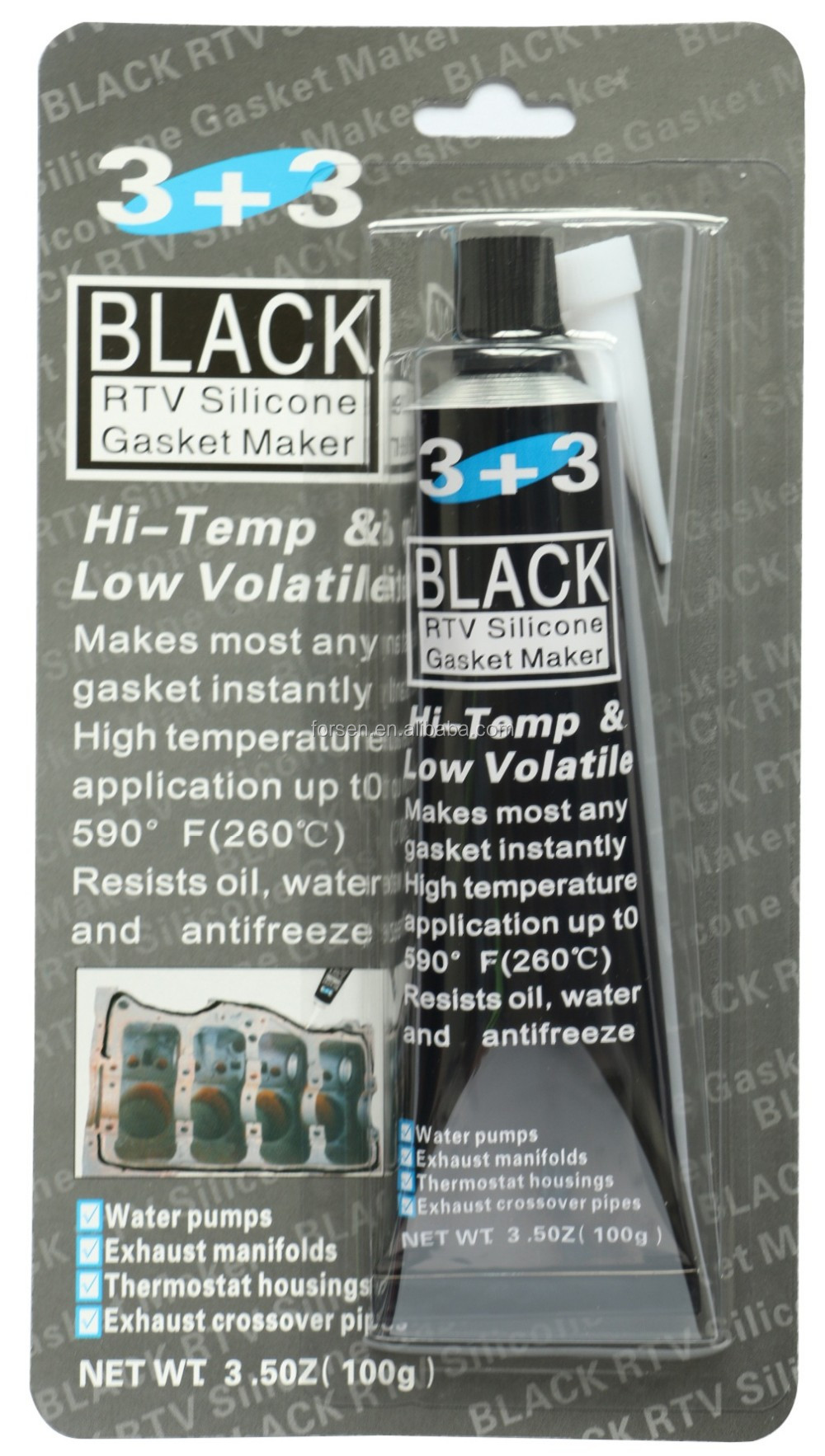 Most Competitive 3+3 Black RTV Silicone Gasket Sealant Adhesive