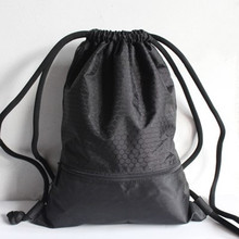 Unisex Nylon mesh splice Shoulder Drawstring Backpack Cinch Sack School Tote Gym Duffle Bag Sport Pack w shoulder straps