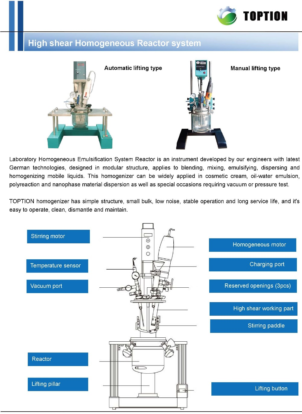 Customized Chemical High speed shear Homogenized glass reactor