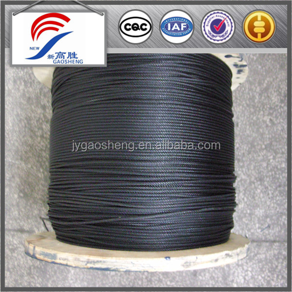 black galvanized steel wire cable 7 x 7
