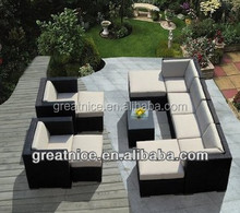Genuine Outdoor Patio Wicker Sectional Furniture 11pc Couch Set With Beige Cushion