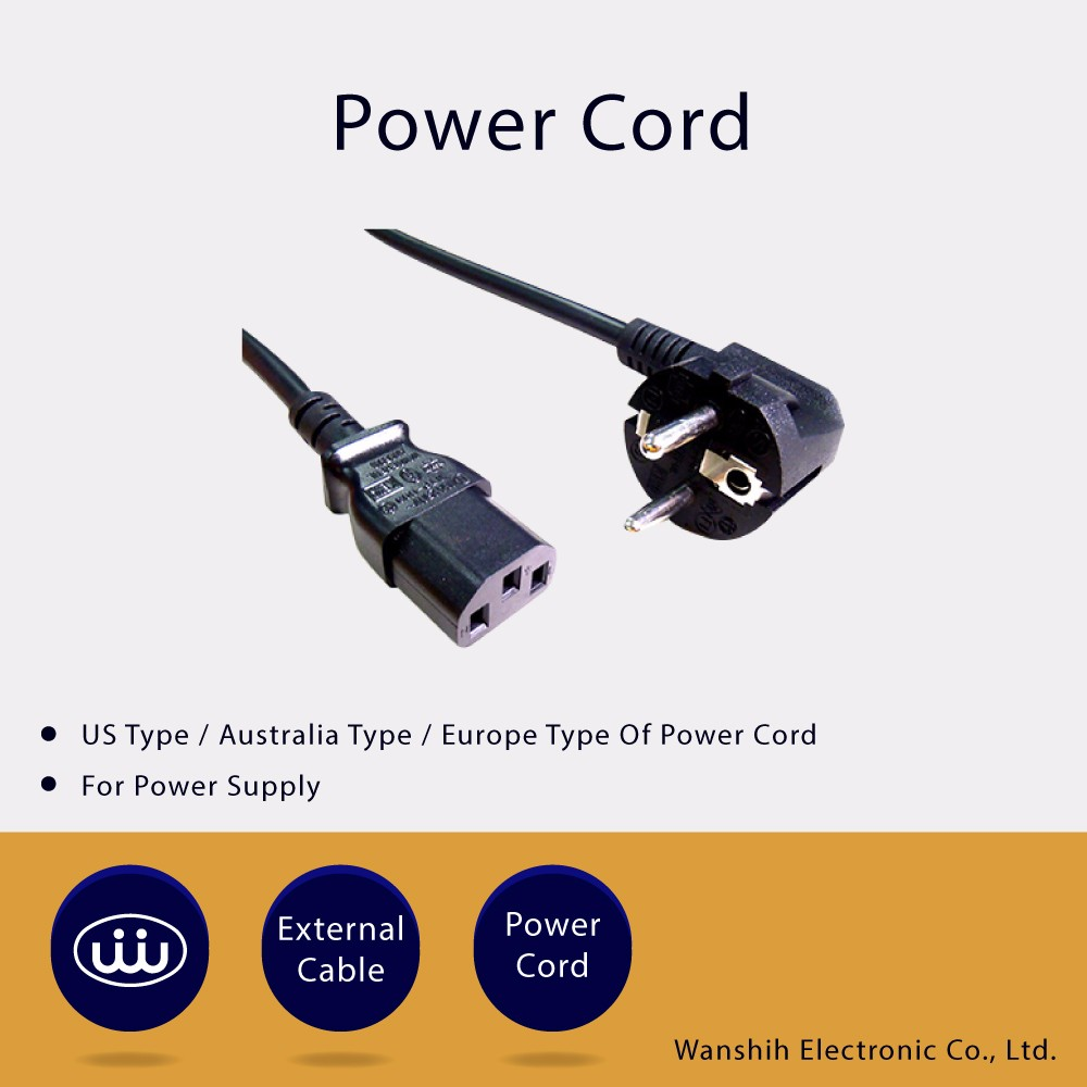 Power Cords and wire harness for different countires