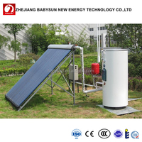 Split pressured home solar water heating system, separated pressurized solar hot water heater