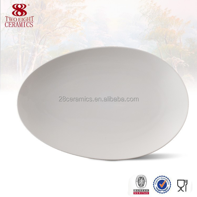 12 inch white porcelain restaurant china plates cheffing dishes for hotel