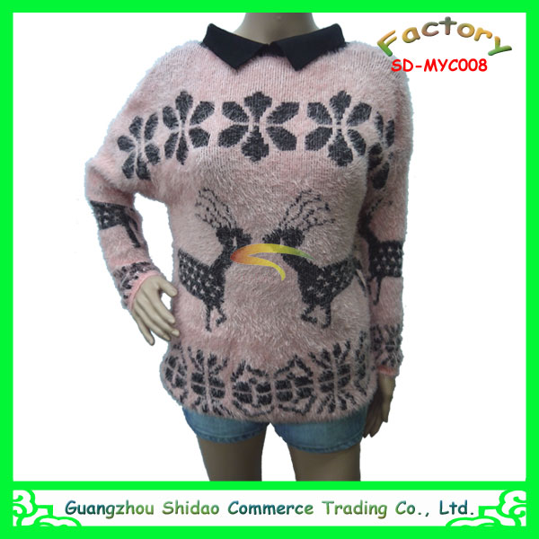 Women V neck Collar Long Sleeves Knitted Christmas Sweater