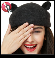 Fashion 100% Wool Warm Women Felt French Beret funny cat ear Beanie Hat