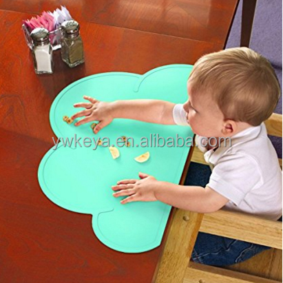FDA approved Kids Silicone Cloud Placemat Dinnerware Table Mat Washable Portable Place Mat