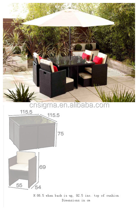 2017 Trade Assurance Popularly Hot Sale Outdoor cheap modern garden dining table set with sun umbrella