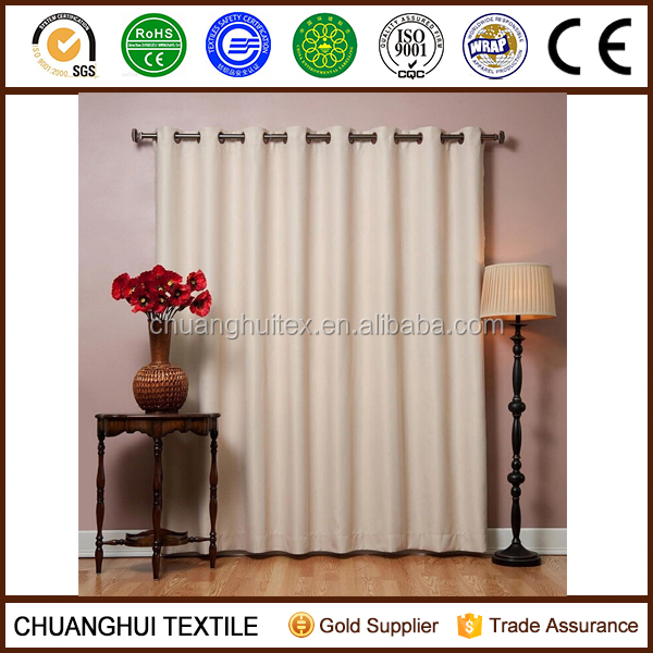 Beige Fire Retardant Grommet Therma Insulated Blackout Curtain fabric