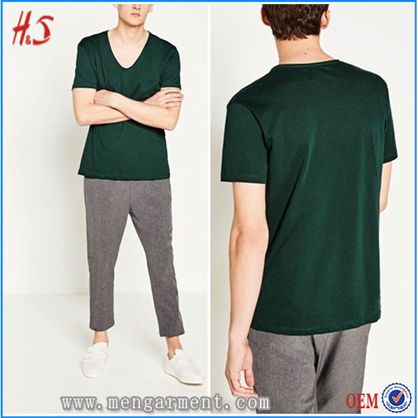 2017 Trending Products New Premium Clothing V-Neck Short Sleeves Plain T-Shirts