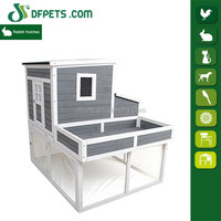 Farmhouse Wooden Chicken Coop with Display Top, Run Area and Nesting Box
