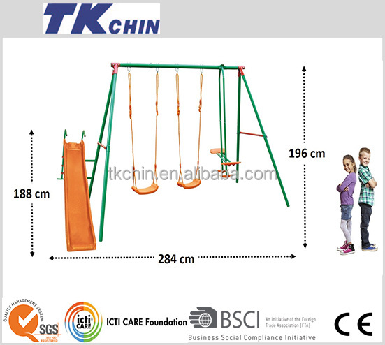 CE Certifcated outdoor children plastic slide and metal swing