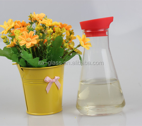 320ml kitchenware OEM personalized logo printed glass dispenser set empty recycled glass table cruet bottle for cooking oil