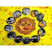 "Indian Traditional Ethnic Sun God Sunsign Zodiac Astrological Batik Abstract Tapestry Cotton Fabric Wall Decor Hanging 22"" X 16"""