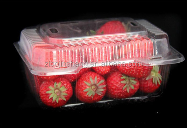 PET material hard plastic food grade strawberry packaging boxes