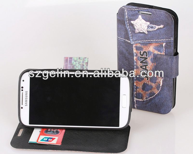 jean style leather cover case for samsung galaxy s4 i9500