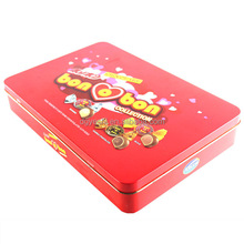 2014 new design rectangular cookie box,hinged cookie tin ,metal box with PET lining