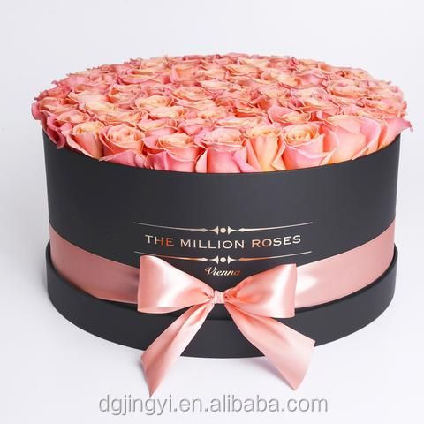 Custom luxury large round cardboard flower hat packaging gift boxes,rose and chocolate packaging boxes with logo