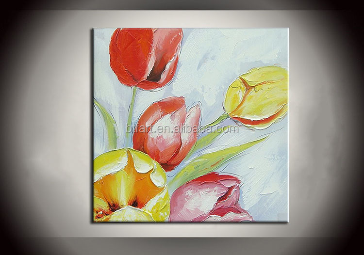 Handpainted Glass Painting Pictures Of Flowers For Bedroom Painting With Frames Stretched Home Decoration