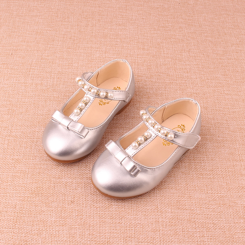 B20135A 2017new design soft pearl bowknot princess shoes