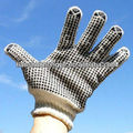 White cotton liner pvc dotted industrial security gloves