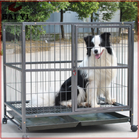 Metal Pet Folding Dog Crate With Wheels Hot Sale