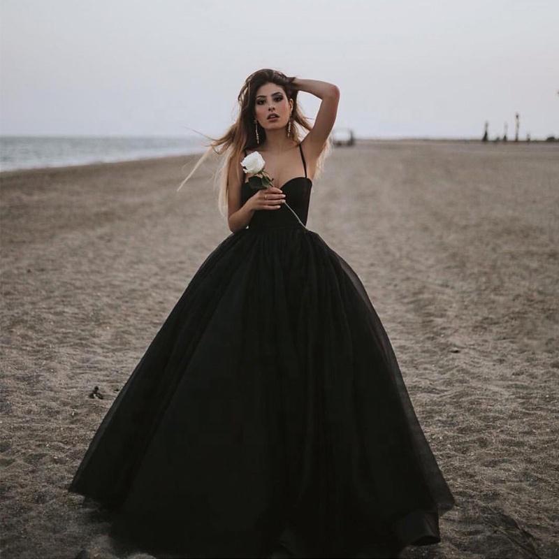 Unique Charm Black Evening Dress Women Gothic Masquerade Ball ...