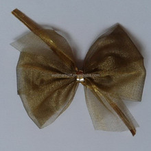 HOT SALE Gold Polyester Sheer Fabric Ribbon Bow Tie