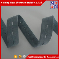 Zhejiang China factory wholesale button hole knitted elastic band for garments