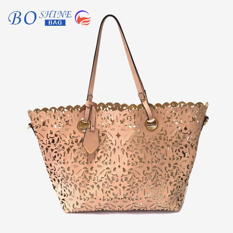 Custom elegant double pu leather woman fashion tote handbag 2016 with hollow flower