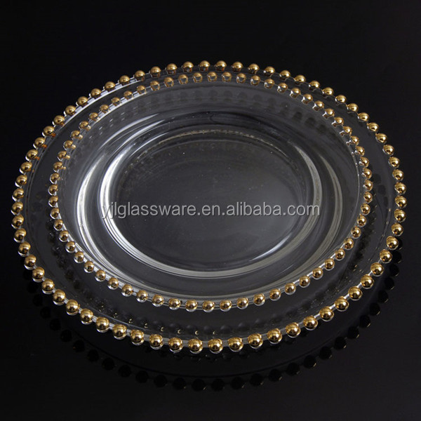 clear glass plate with gold for wedding