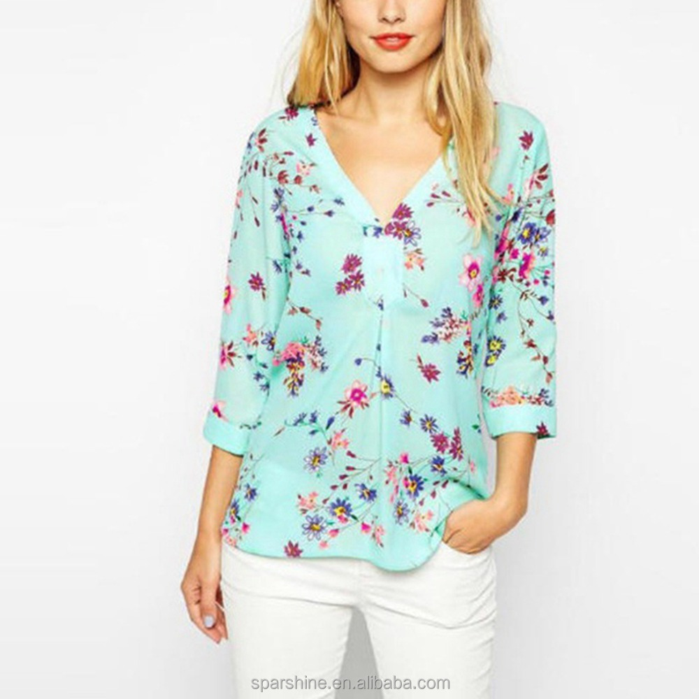 V Neck Printed Shirt 3/4 Sleeve Latest Fashion Chiffon Blouse Design 2016 Woman Floral Blouse Lady Blouse & Top
