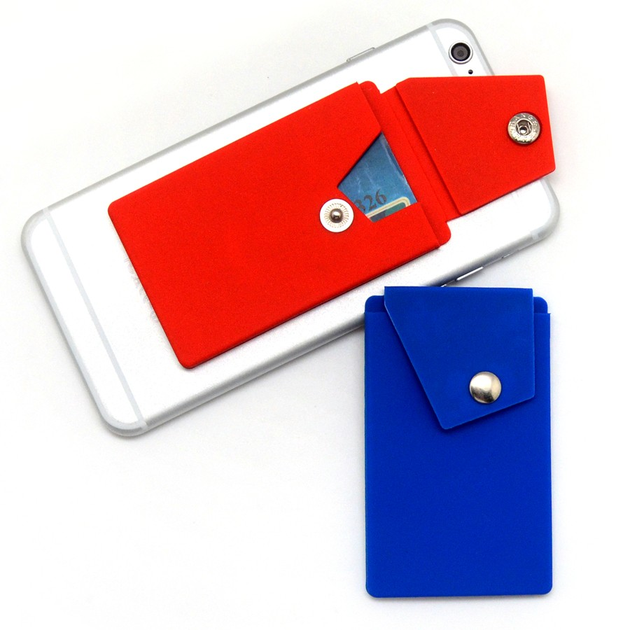 Silicone smart wallet with button and screen cleaner