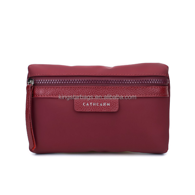 2016 New Waterproof Soft Nylon Cosmetic Case With Leather Trimmings