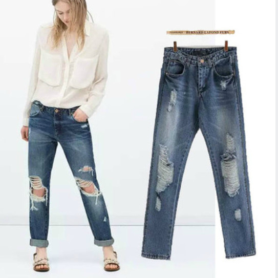 2015 Spring Autumn Women'S Fashion Wear White Hole Washed Denim Harem Pants Beggar Wild Stretch Double Pocket Straight Trousers