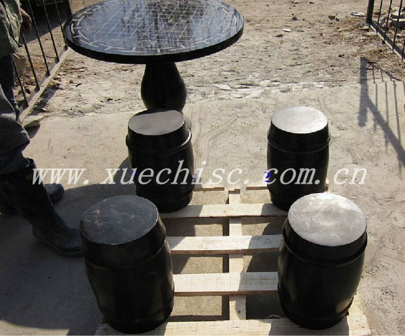 Hot sell export standard Outdoor black granite table and chair