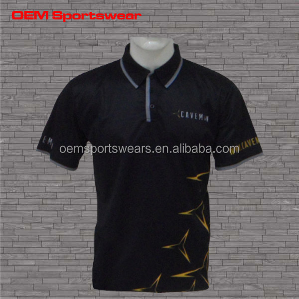 Bulk wholesale 100% polyester dry fit black polo shirt design
