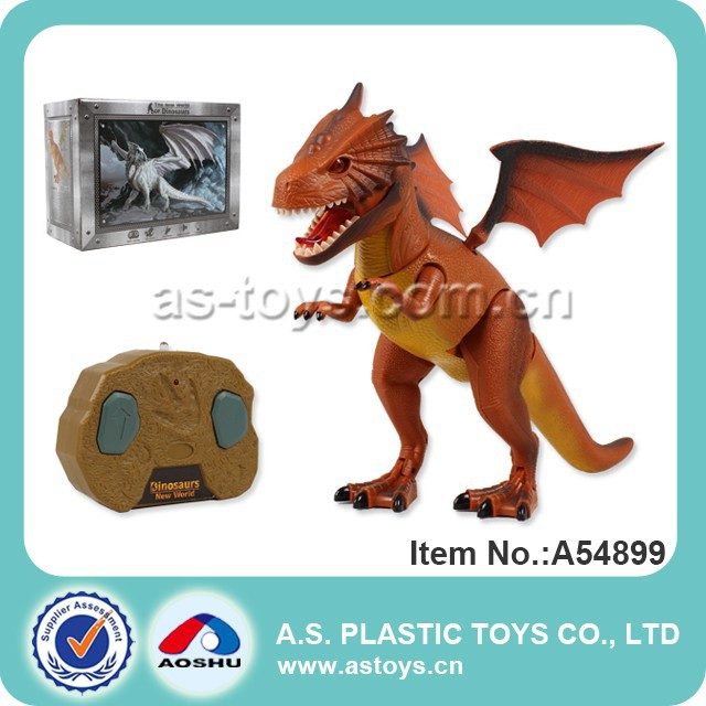 Walking plastic remote control dinosaur toy with light and sound