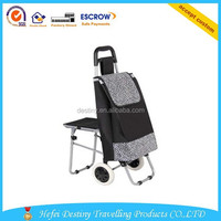 High quality practical durable folding shopping trolley bag with chair