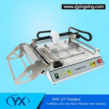 High Precision SMT Chip Mounter TVM802A With 27 Feeders low cost pcb machine Production Line For Led Lamps